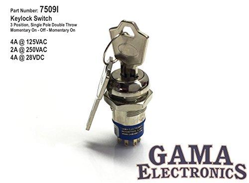 GAMA Electronics 3 Position Single Pole Momentary On-Off-Momentary On Keylock Switch