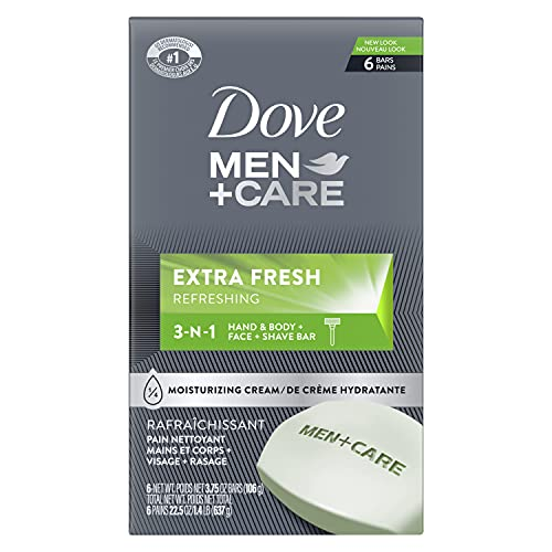 Dove Men+Care 3 in 1 Bar for Body, Face, and Shaving to Clean and Hydrate Skin Extra Fresh Body and Facial Cleanser More Moisturizing Than Bar Soap 3.75 oz 6 Bars