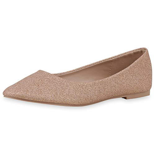 SCARPE VITA Damen Klassische Ballerinas Elegante Slip On Schuhe Glitzer Slipper Flache Abendschuhe 189577 Rose Gold 37