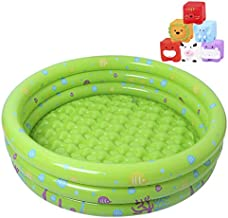 Kiddie Pool,3 Ring Circles Round Inflatable Swimming Pool Pit Ball Pool Baby Inflatable Bathtub Kids Shower Basin for 1-2 Year Old - Included 6 Pack Little Squirts Bath Toys