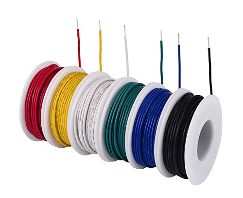 TUOFENG 24 awg Solid Wire-Solid Wire Kit-6 different colored 30 Feet spools 24 gauge Jumper Wire -Hook up Wire Kit