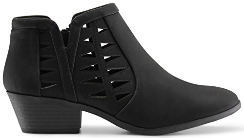 MARCOREPUBLIC Oslo Womens Perforated Cut Out Side Medium Low Stacked Block Heel Ankle Booties Boots - (Black NBPU) - 10