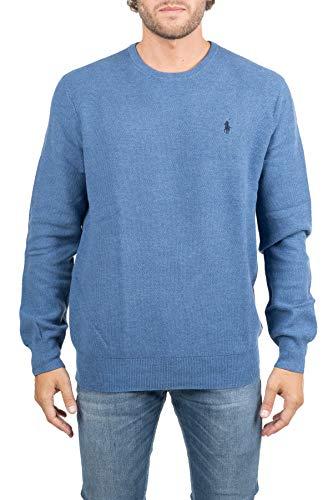 Polo Ralph Lauren T-shirt bleu en coton avec broderie sur le devant, manches longues, col rond, manches et fond en côte. - Bleu - Small