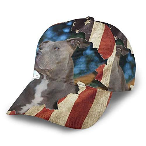 HARLEY BURTON Gorra de béisbol unisex con diseño de bandera americana para perro, tiro de toros, divertido y ajustable, para empalme, hip hop, sombrero de sol, color negro