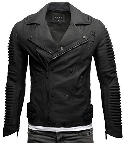 Crone Unique Herren Echtleder Biker Jacke Premium Lederjacke Weiches Schafs-Leder mit vielen Details und Zippern (Biker - Matt Schwarz, M)