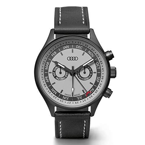 Original Audi Uhr Armbanduhr Kalenderwoche Herren Damen grau / schwarz