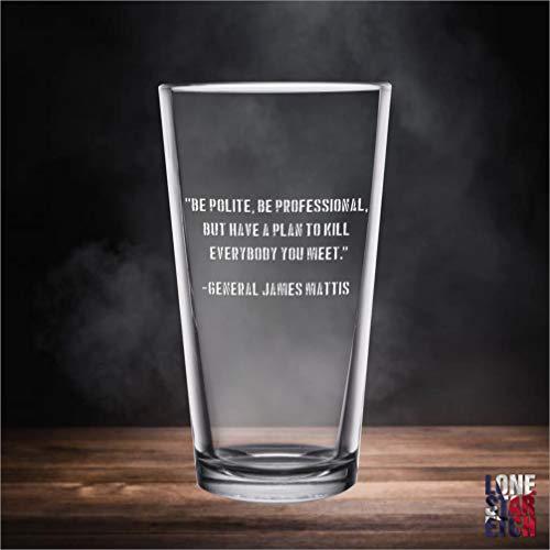 James Mattis Quote Engraved Pint Glass