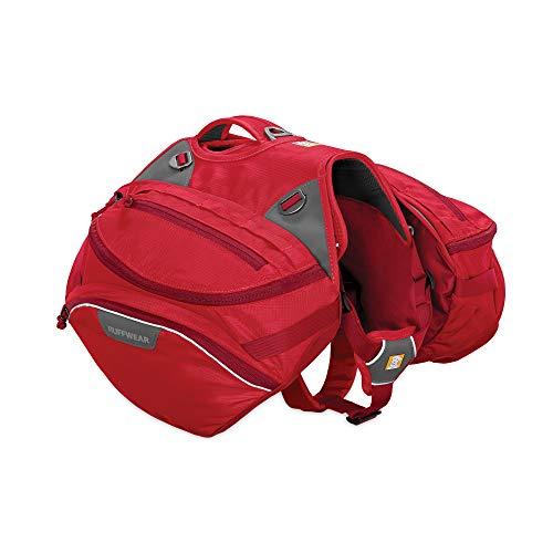 Ruffwear Strapazierfähiger Wander-Rucksack für Hunde, Inklusive 2 x 1L Wasserflasche, Mittelgroße Hunderassen, Größenverstellbar, Größe: M, Rot (Red Currant), Palisades Pack