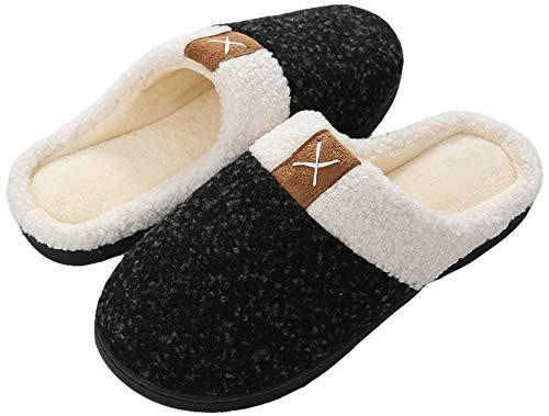 Acfoda Warm Plüsch Hausschuhe Herren Damen Memory Foam Pantoffeln Männer Frauen Winter Indoor House Slippers rutschfeste Schwarz Gr.38/39