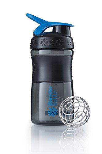 BlenderBottle Sportmixer Botella de agua | Botella mezcladora de batidos de proteínas | con batidor Blenderball | libre de BPA | Tritan| 590ml - negro/cyan