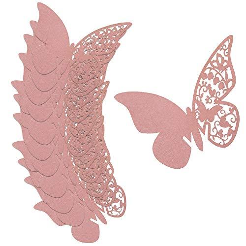 HO2NLE 100Pcs Tarjetas Etiquetas Decorativas en Forma de Mariposa Copas para Regalo Detalle Nombre Mesa Boda Cumpleaño Comunión Bautizo Fiesta Rosa
