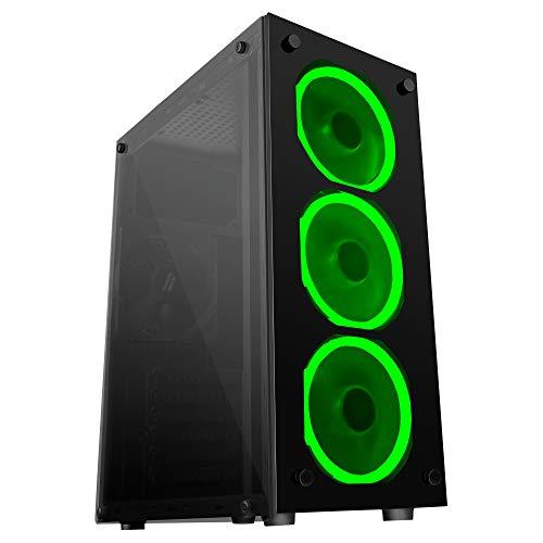 Mars Gaming MCG, caja de PC ATX, cristal templado, 3 ventiladores LED verde