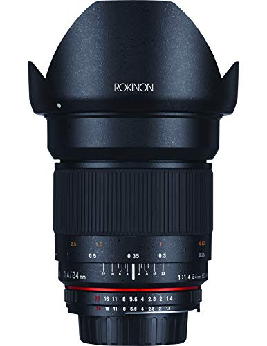 Rokinon 24mm F/1.4 Aspherical Wide Angle Lens for Nikon with Automatic AE Chip for Auto Aperture, Auto Exposure and Focus...
