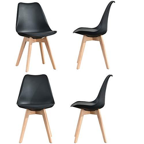 Moderno set di 4 sedie da pranzo con gambe in legno con morbido cuscino in pelle e morbido schienale sgabelli da cucina per salotto, salotto, camera da letto Giallo