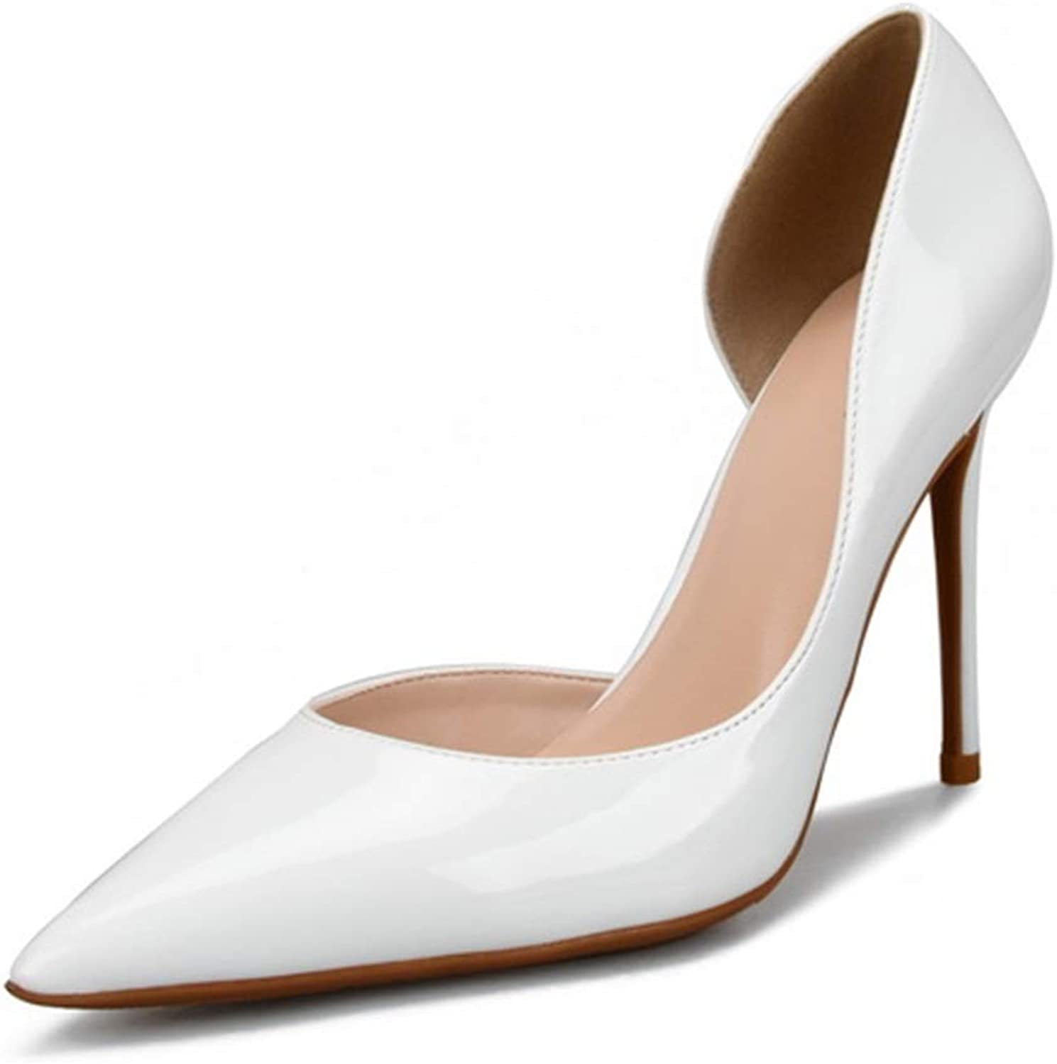 shoes Fashion Dorsay Pumps for Women High Stiletto Heels Side Cut Sexy Pointed shoes for Ladies  Pointed, Classic Slip On Dress Pumps Comfortable (color   White 8 cm Heel, Size   10.5 M US)