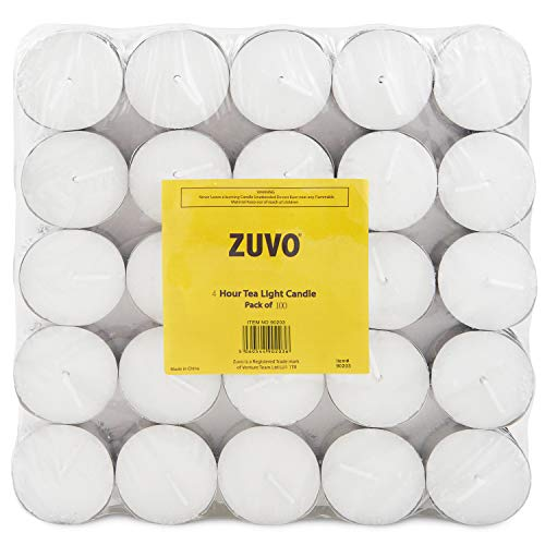 Zuvo Tea Light Candles 4 Hour Burn Time White Unscented. (4 Hour 100 Pack), 90203C