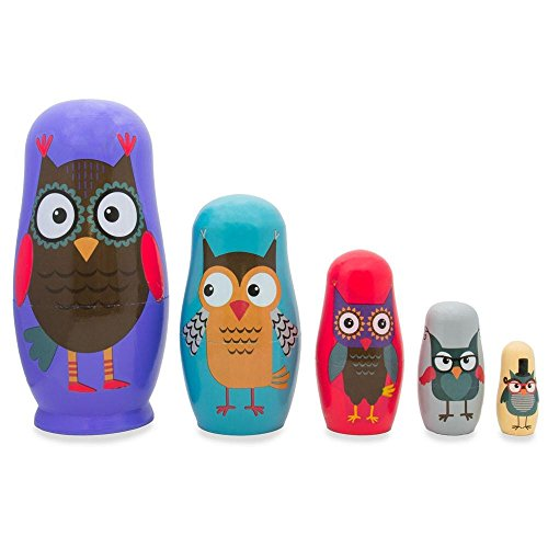BestPysanky Set of 5 Wise Owls Family Wooden Nesting Dolls 5.75 Inches