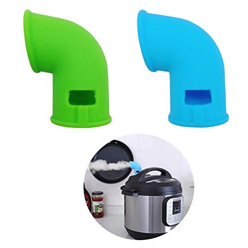 Accesorios del Cambiador de Vapor para Válvulas de Alivio de Presión de Desvío de Vapor Accesorios de Cambio de Vapor de Silicona Compatibles Adecuado para Cocinar en la Cocina Juego 2PCS Azul y Verde