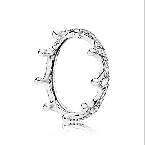 YOYOYAYA Anello S925 Silver Corona Diamante Artificiale Gioielleria Femmina Ragazza Data Matrimoni Squisita Dono,Sette