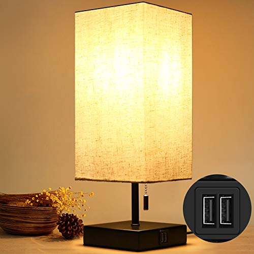 HOKEKI Bedside Table Lamp, with 2 Useful USB Ports, Black Charger Base with Beige Fabric Shade, Modern Desk Lamp for Bedroom, Living Room, Kid