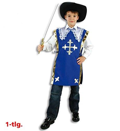 KarnevalsTeufel Kinderkostüm -Überwurf- Athos Musketier 1-TLG. Überwurf blau-weiß Fechter Musketierkostüm für Kinder (152/164)
