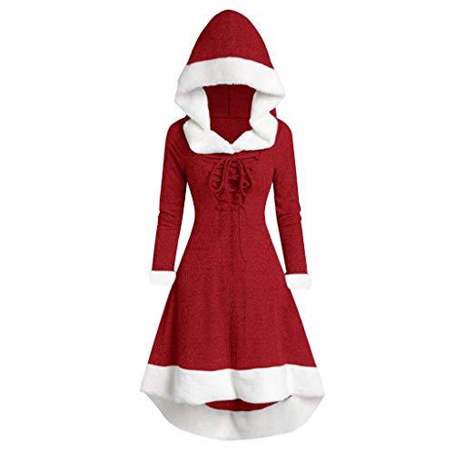 YAYAKI Weihnachtskleider Damen Strickkleid mit Weihnachten Langarm Cocktailkleid Festlich Partykleid A-Linie Kleider Abendkleid Karneval Kostüme Fasching Santa Claus Kostüm (Grau,XL
