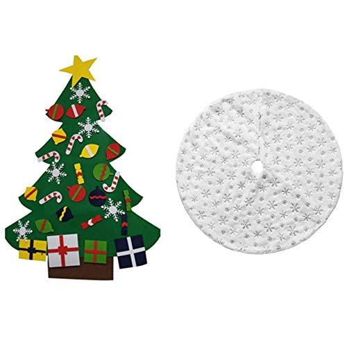 Nrpfell 1 Pcs Kids DIY Felt Christmas Tree with Ornaments,B Style & 1 Pcs Christmas Tree Skirt