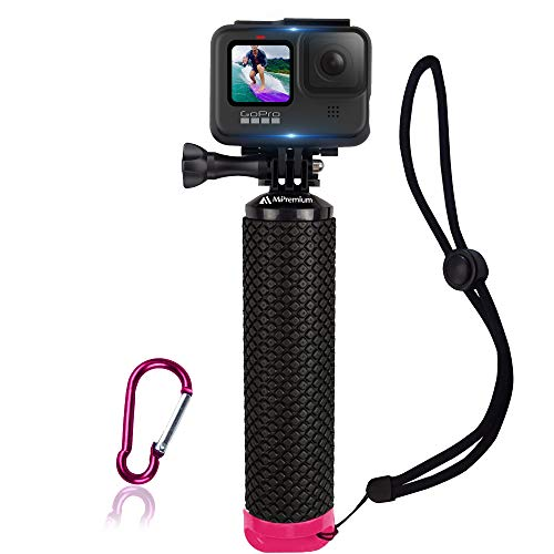 Waterproof Floating Hand Grip Compatible with GoPro Hero 9 8 7 6 5 4 3+ 2 1 Session Black Silver Handler & Handle Mount Accessories Kit for Water Sport and Action Cameras (Rose Red)