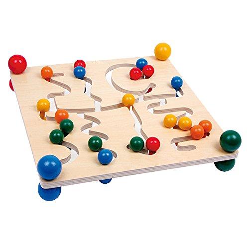 Small Foot 7230 Planche de motricité en bois double face, jeu d'habilité pour tout-petits et jardins d'enfants