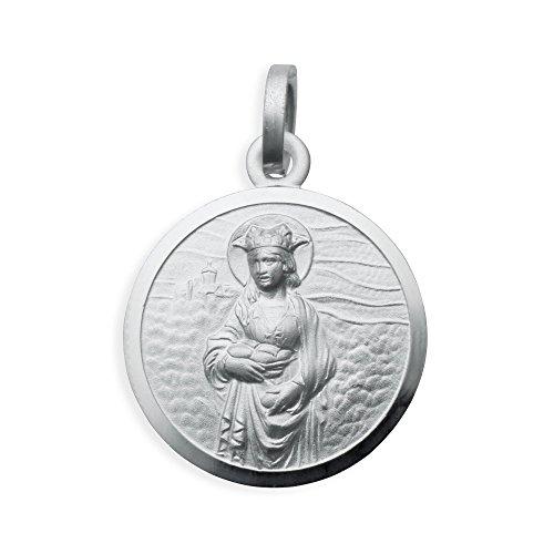 Echt Sterling Silber 925 Heilige Elisabeth von Thüringen (auch Ungarn) Medaille, Durchmesser 16mm (Art.213157) Gratis Express Gravur
