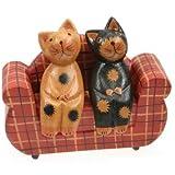 Lot de 2en bois Cool chat sur canapé Décoration/Décoration/Figurines–12cm