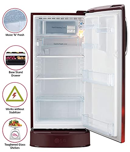 LG 190 L 4 Star Inverter Direct-Cool Single Door Refrigerator (GL-D201ASCY, Scarlet Charm, Base stand with Drawer) 3