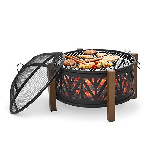 Outsunny 2-in-1 Feuerschale Feuerkorb Feuerstelle mit Funkenschutz Grillrost Garten BBQ Schwarz+Braun Ф78 x 60H cm