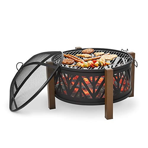 Outsunny 78cm 2-In-1 Outdoor Fire Pit & Firewood BBQ Manual Garden Cooker Heater Bowl w/Safety Grate Mesh Lid Poker Handles Cover Patio Bonfire