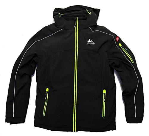 Nordberg gefütterte Winterjacke Softshell Jacke Ole in schwarz mit Abnehmbarer Kapuze und windgeschütztem Reißverschluss Schwarz-Yellow XL