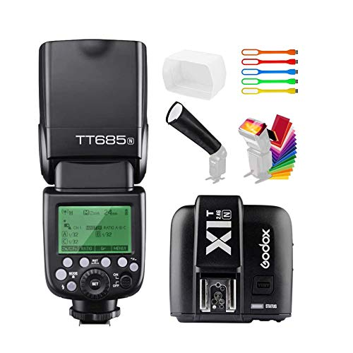 Godox TT685N I-TTL 2.4G GN60 High-Speed Sync 1/8000s Master Slave Flash Speedlite Speedlight with X1T-N Wireless Trigger Transmitter Compatible for Nikon Cameras & Diffuser & Filter & Snoot & USB LED