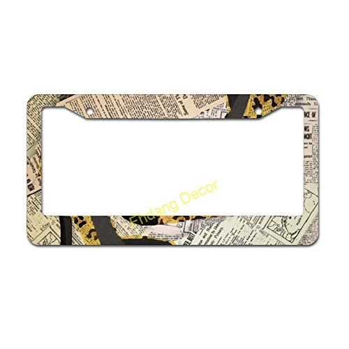 Leopard High Heels License Plate Frame Car Accessory Aluminum Car Licence Plate Covers with 2 Holes, Auto Decor, New Car Gift 6' x 12'