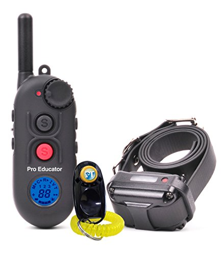 Bundle of 2 Items - E-Collar - PE-900-1/2 Mile Remote Rechargeable Waterproof Trainer Pro Educator - Static, Vibration and Sound Stimulation Collar with PetsTEK Dog Training Clicker