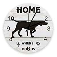 掛け時計 木の板 犬 家 壁掛け時計 掛時計 静音 clock サイレント 壁時計 部屋 リビング 玄関 インテリア コンパクトサイズ 電池式 木掛け鐘 大数字 円形 贈り物 直径 30cm