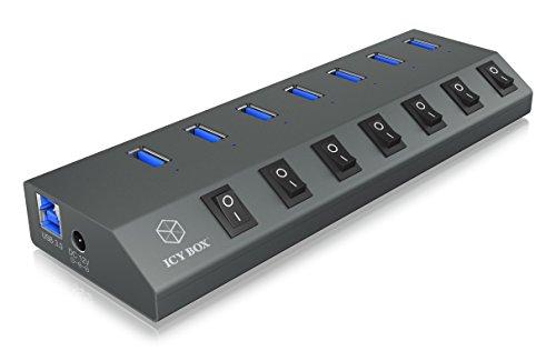 ICY BOX IB-Hub1701-U3 7-fach USB 3.0 Hub und Ladegerät, An-/Ausschalter für jeden Port, Netzteil (12V/4A), Aluminium, Ladestandard BC 1.2, grau