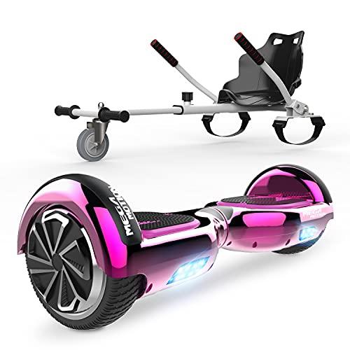 """HITWAY 6.5"""" Patinete Eléctrico con Silla, Hoverboards Bluetooth, Scooter Eléctrico Asiento Kart, Self Balancing Scooter Potente Motor con Indicador LED, Regalo para Niños ⭐"""