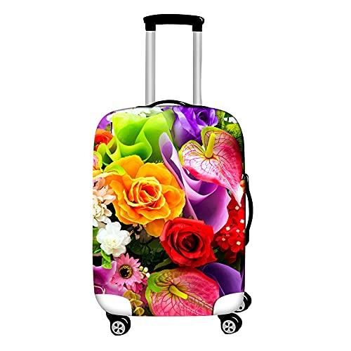 Surwin 3D Cubierta de Equipaje Protectora Suave Elástico Anti-Polvo Lavable Funda de Maleta Luggage Cover con Cremallera Viaje Cubierta de la Caja (Planta de Flor,L (26-28 Pulgadas))