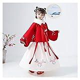 YUNGYE Falda de chaqueta bordada roja gruesa Hanfu traje de niña para mostrar ropa de otoño e invierno (color: traje y cuello, tamaño: 120 cm)