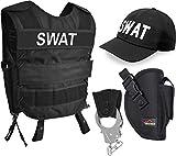 normani SWAT Kostüm für Damen und Herren - Unisex [XS-6XL] - bestehendaus Weste mit Patch, bestickter Cap, Handschellen + Handschellenhalter Größe M/L