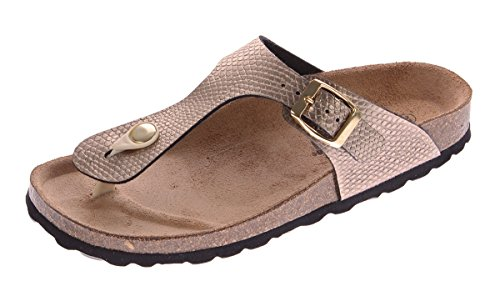 Gemini Damen Bio Pantoletten Zehentrenner Clogs Gold Sandalen Leder-Kork-Fußett Schuhe Latschen Gr. 42