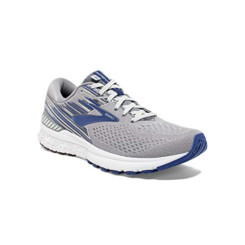 Brooks Mens Adrenaline GTS 19 Running Shoe - Grey/Blue/Ebony - D - 8.0