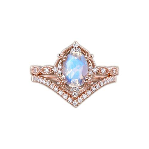 Vintage Moonstone Engagement Ring | Rose Gold Vintage Ring | Milgrain Vine Vintage 2pcs Set | Rose...