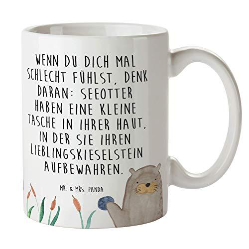 Mr. & Mrs. Panda Becher, Kaffeetasse, Tasse Otter mit Stein mit Spruch - Farbe Weiß