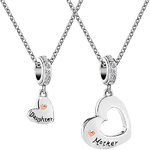 PAPAO Collar de Regalo del día de Las Madres en Forma de corazón Collar del día de Las Madres Colgante para la joyería de cumpleaños,A