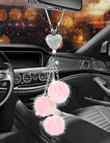 YCHZ Bling Car Accessories for Women Bling White Rinestone Heart with Star and Pink Fuzzy Drops Cute Car Decor for Women Crystal Sun Catcher Ornament,Rear View Mirror Crystal Heart Charm Decor (Pink)